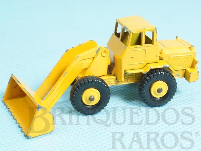 Brinquedo antigo Hatra Tractor Shovel black plastic Regular Wheels amarelo