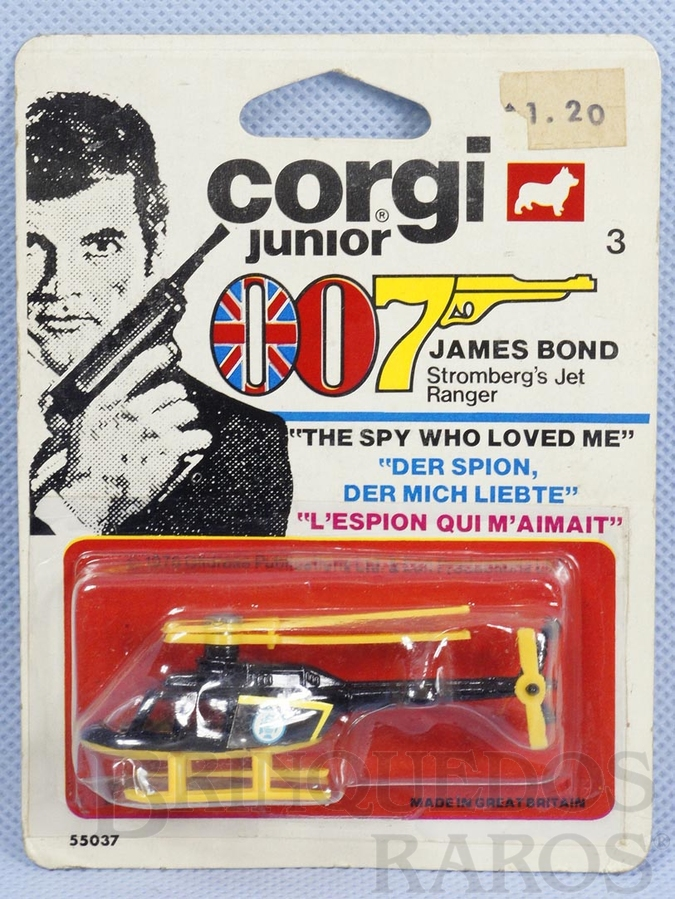 Brinquedo antigo Helicóptero Strombergs Jet Ranger 007 James Bond Corgi Jr Blister lacrado