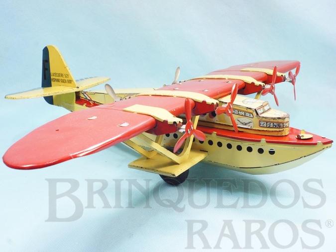 Brinquedo antigo Hidroavião Latécoère 521 com 49,00 cm de envergadura Motor impulsiona as rodas de borracha Ano 1935