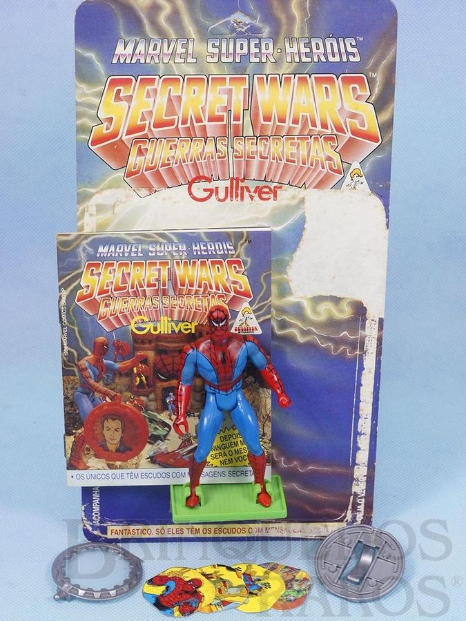 Brinquedo antigo Homem Aranha Série Secret Wars perfeito estado Completo com Escudo acompanham Revista e Cartela Originais Ano 1986