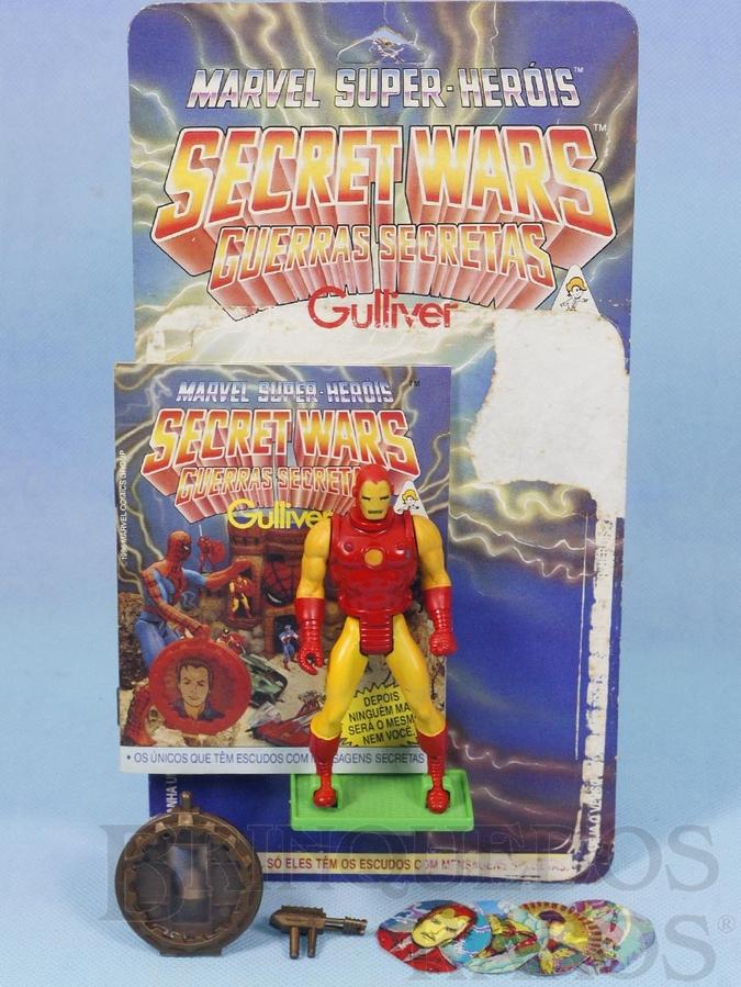 Brinquedo antigo Homem de Ferro Série Secret Wars Completo com Escudo e Arma acompanham Revista e Cartela Originais Ano 1986