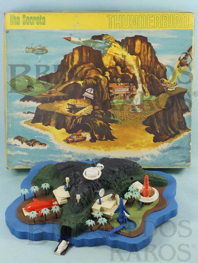 Brinquedo antigo Ilha Secreta Thunderbirds 30 cm de comprimento Completa com 5 naves Perfeito estado 100% original  Década de 1960