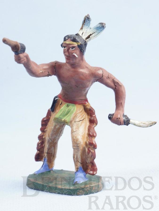 Brinquedo antigo Índio com revolver e faca Década de 1950
