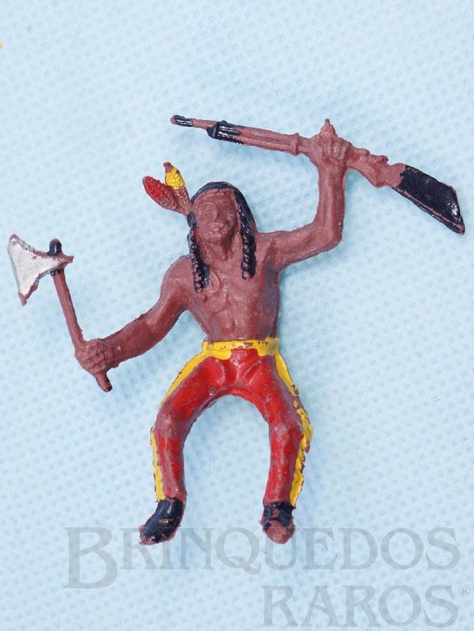 Brinquedo antigo Índio montado a cavalo com rifle e machado