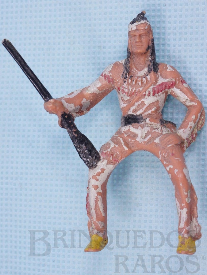 Brinquedo antigo Índio montado a cavalo com Rifle Série Planície Selvagem Década de 1970