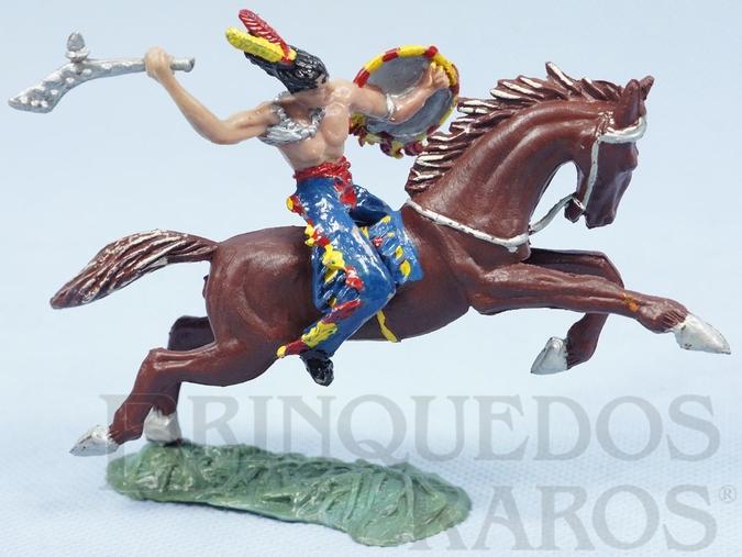 Brinquedo antigo Índio montado a Cavalo com tacape e escudo Casablanca Cavalo numerado 157 Década de 1960