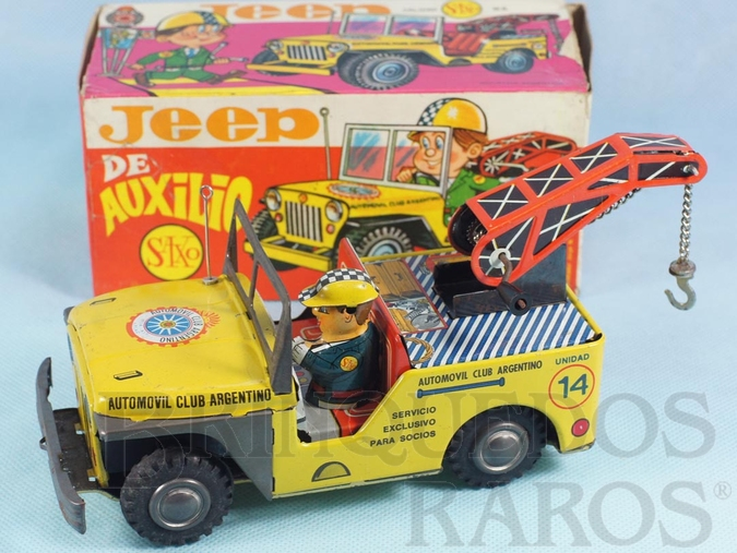 Brinquedo antigo Jeep Willys Guincho Automovil Club Argentino Jeep de Auxilio com 21,00 cm de comprimento Década de 1970