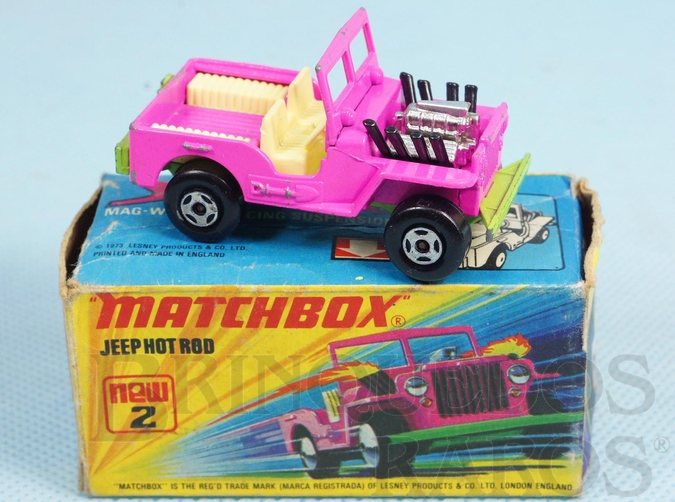 Brinquedo antigo Jeep Willys Hot Rod Superfast Rosa