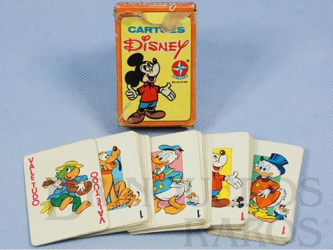 Brinquedo antigo Jogo de Cartas Cartões Disney com figuras do Zé Carioca Pluto Pato Donald Mickey e Tio Patinhas Década de 1970