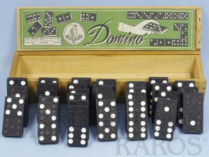 Brinquedo antigo Jogo de Dominó com 28 pedras negras Década de 1950