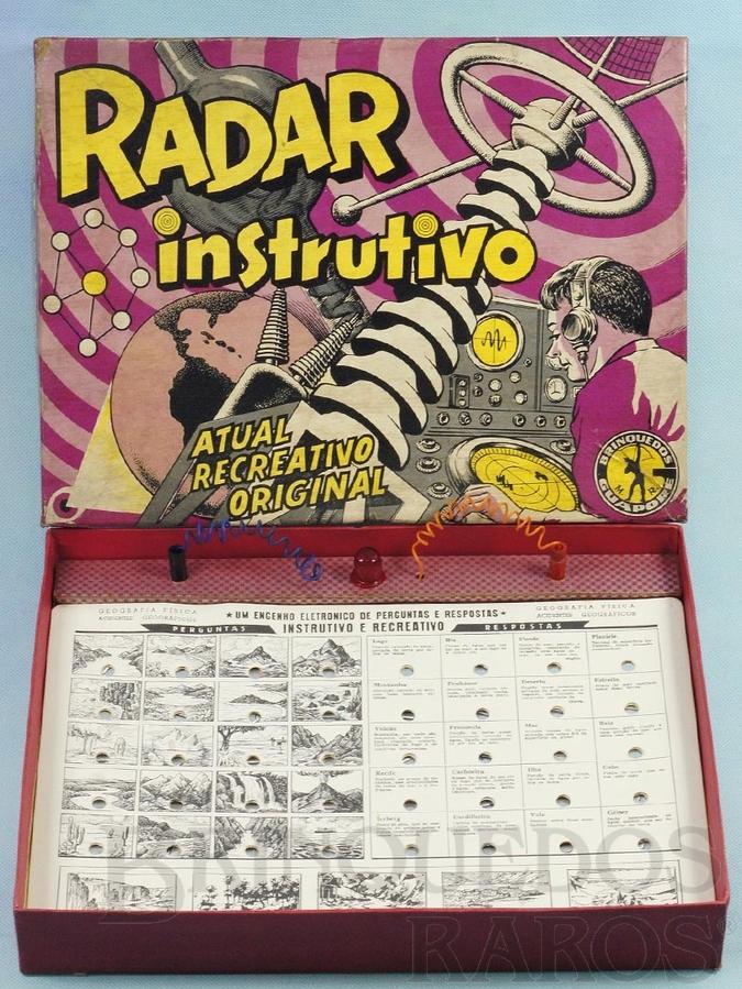 Brinquedo antigo Jogo de Perguntas e Respostas Radar Instrutivo  caixa assinada Kraus 100% original completo Perfeito estado Década de 1970