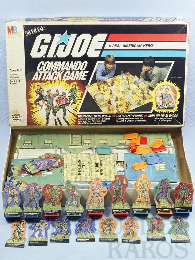 Brinquedo antigo Jogo G.I. Joe Commando Attack Game Comandos em Ação Perfeito estado Completo Figuras em tamanho natural Década de 1980