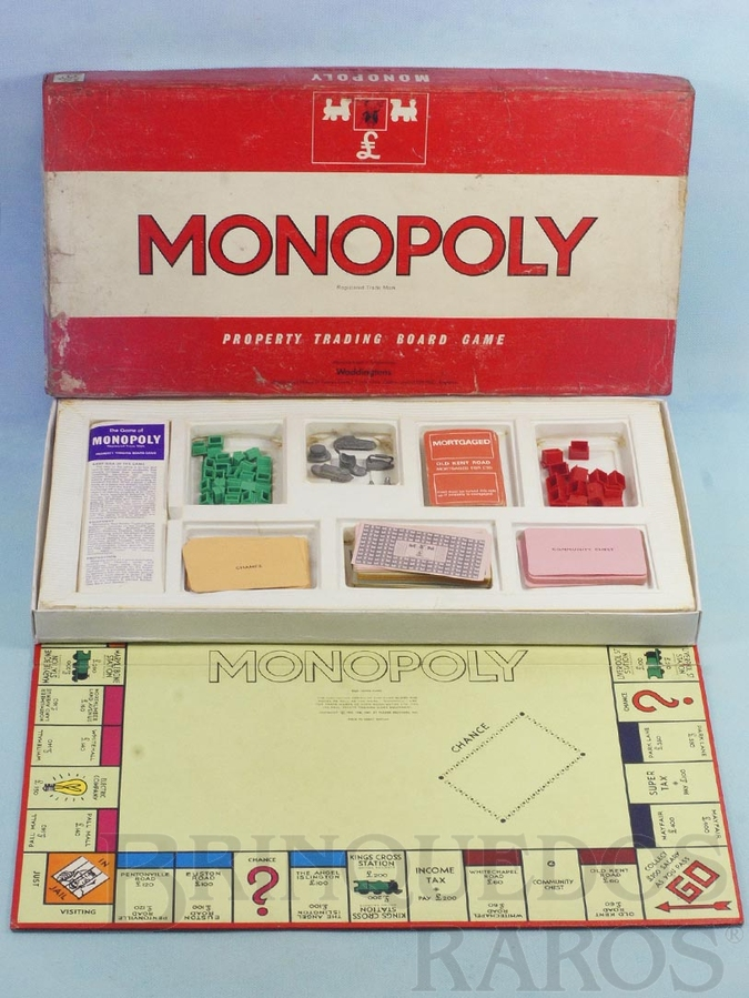 Brinquedo antigo Jogo Monopoly Banco Imobiliário com peças de metal e de plástico versão inglesa Ano 1961