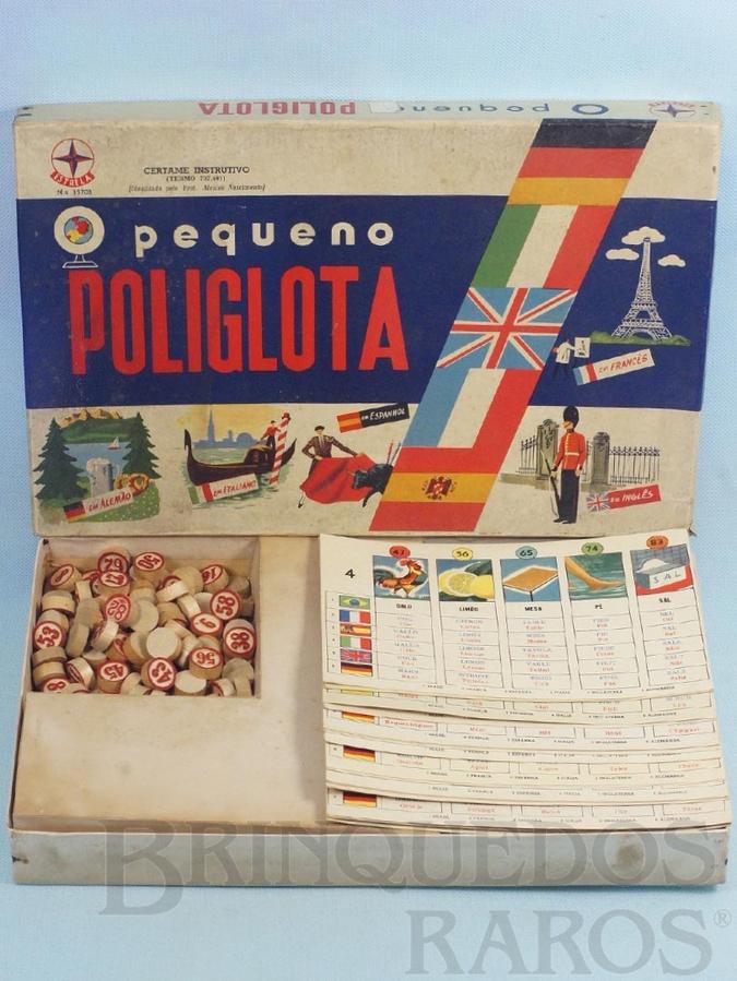 Brinquedo antigo Jogo O Pequeno Poliglota Série Certame Instrutivo Prof. Alcides Nascimento Caixa Datada 03 Outubro de 1968