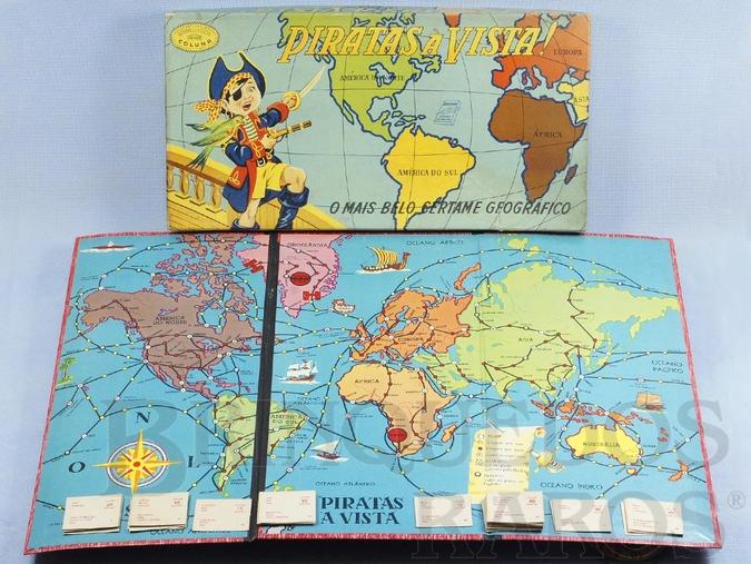 Brinquedo antigo Jogo Piratas a Vista excelente estado Incompleto faltam 12 Cartas e a roleta Década de 1960