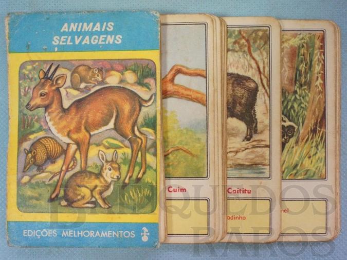 Brinquedo antigo Jogo Quarteto Animais Selvagens completo com 12 grupos de 4 cartas Década de 1960