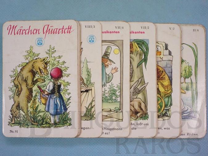 Brinquedo antigo Jogo Quarteto Märchen Quartett Contos de Fadas completo com 9 grupos de 4 cartas Década de 1960