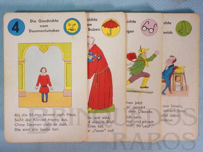 Brinquedo antigo Jogo Quarteto Struwwelpeter Quartettspiel com Histórias infantis de cunho pedagógico do Livro de Heinrich Hoffmann completo com 6 grupos de 4 cartas Ano 1950