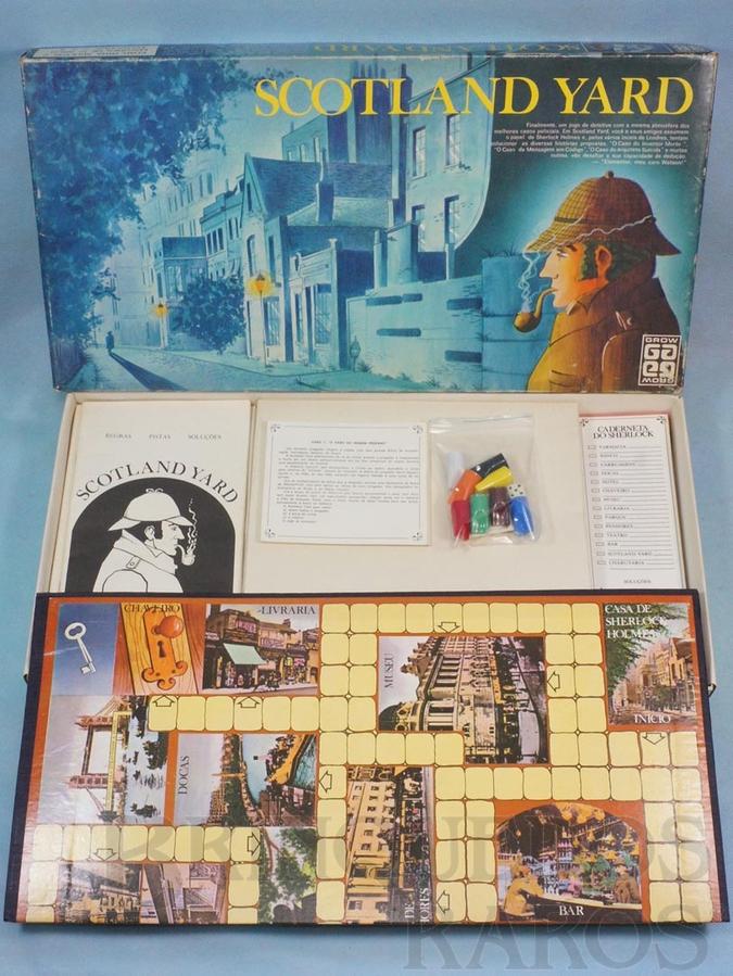Brinquedo antigo Jogo Scotland Yard completo Casos 1 ao 20 Década de 1980