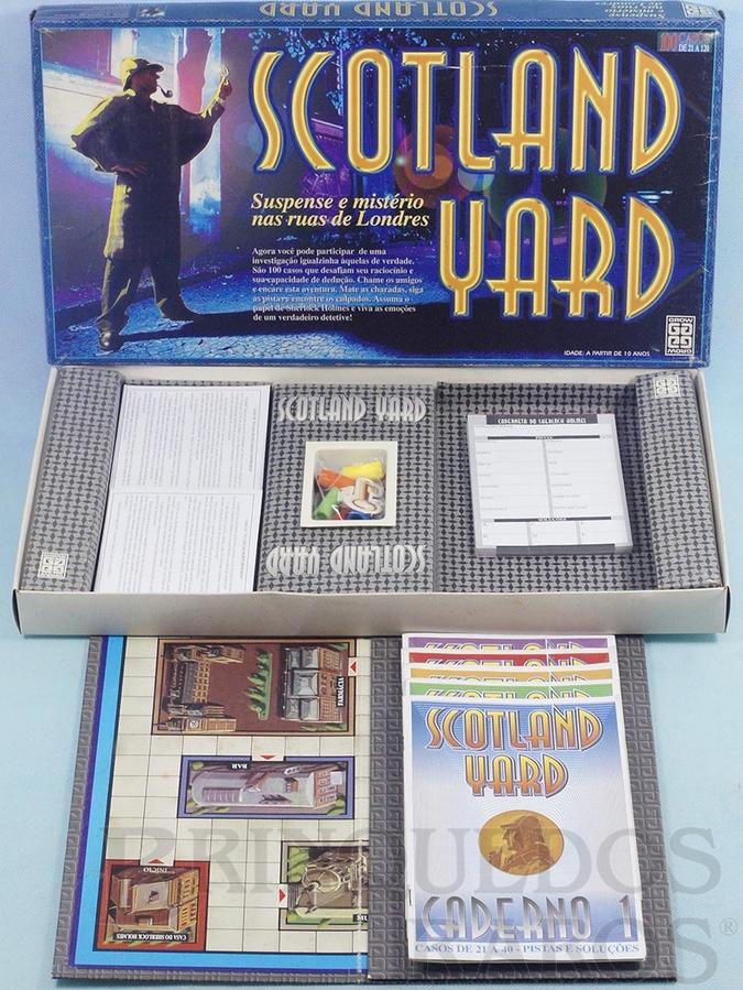 Brinquedo antigo Jogo Scotland Yard completo Casos 21 ao 120 Década de 1980