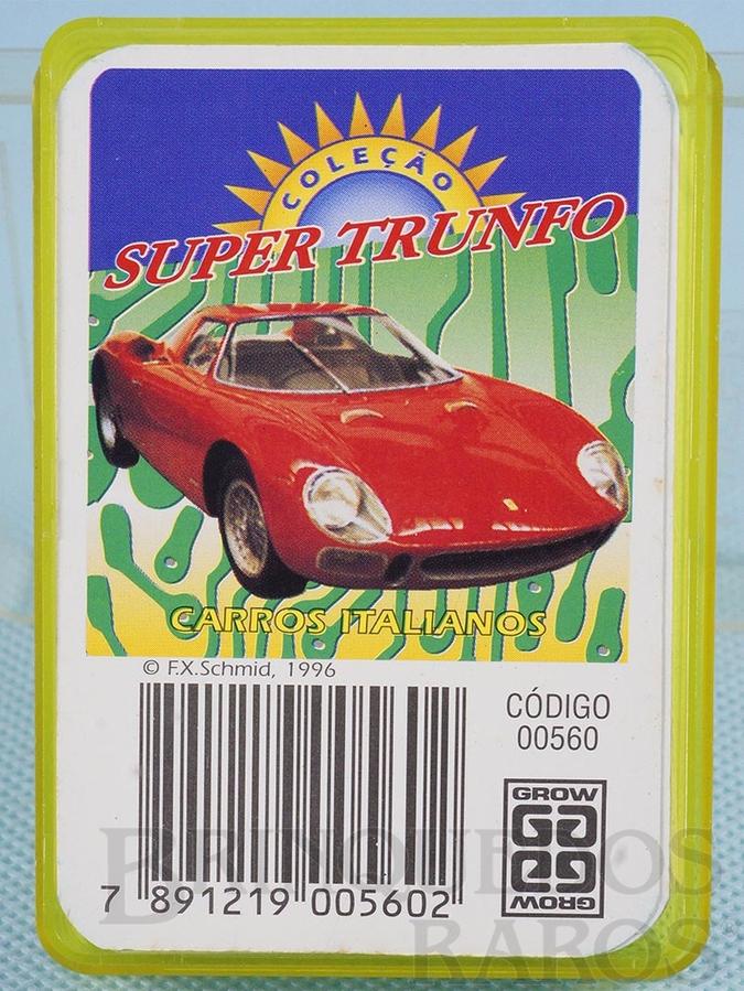 Brinquedo antigo Jogo Super Trunfo Carros Italianos Década de 1980