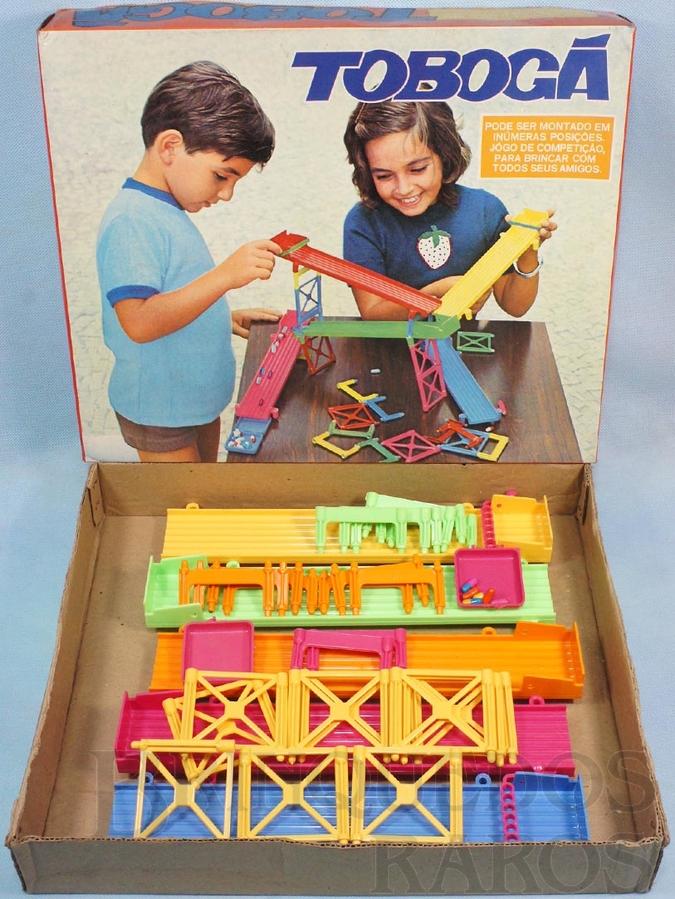 Brinquedo antigo Jogo Tobogã Corrida Maluca completo com 6 Cápsulas Década de 1970