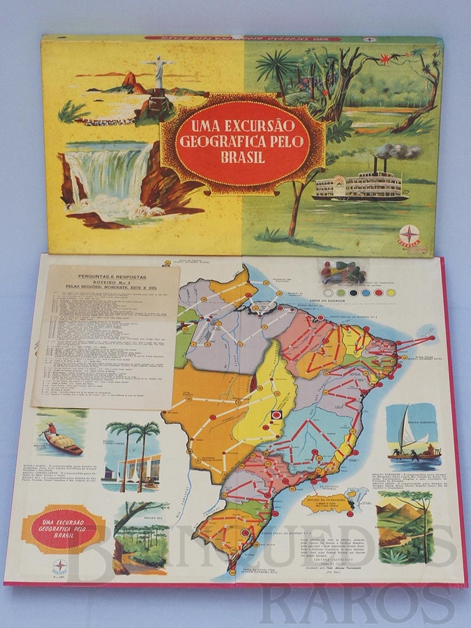 Brinquedo antigo Jogo Uma Excursão Geográfica Pelo Brasil Série Certame Instrutivo Prof. Alcides Nascimento Caixa Datada 06 Dezembro de 1967