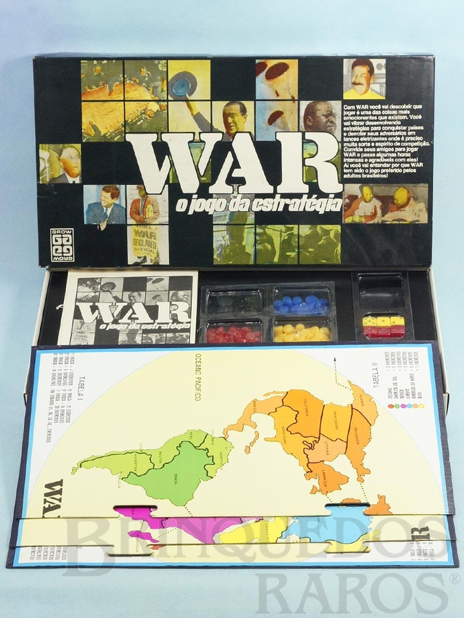 Brinquedo antigo Jogo War O Jogo da Estratégia tabuleiro de encaixe Década de 1970