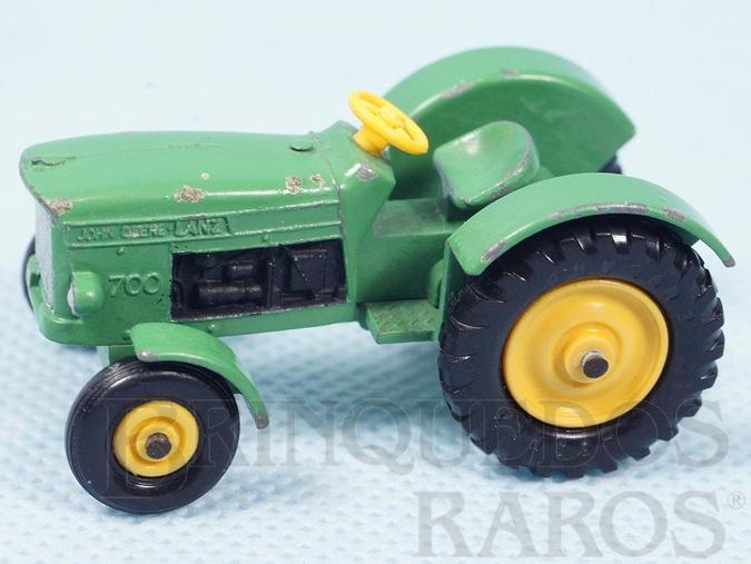 Brinquedo antigo John Deere Tractor Black Plastic Regular Wheels