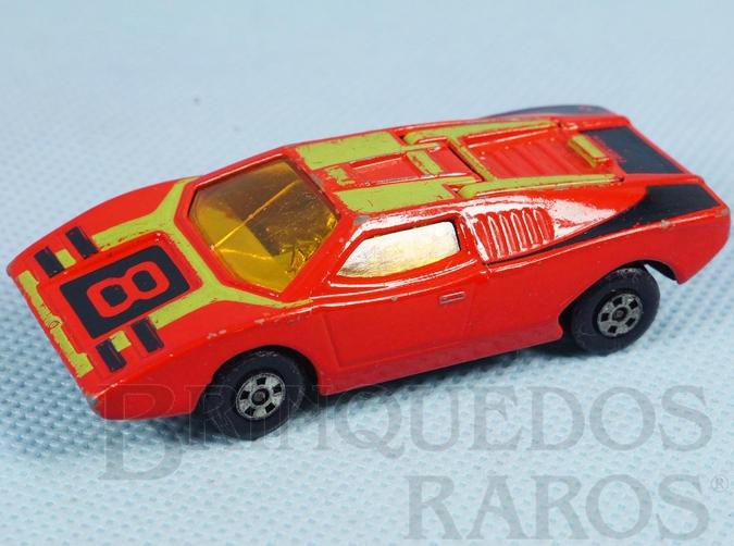 Brinquedo antigo Lamborghini Countach Superfast vermelha numero 8