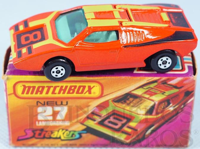 Brinquedo antigo Lamborghini Countach Superfast vermelha Número 8