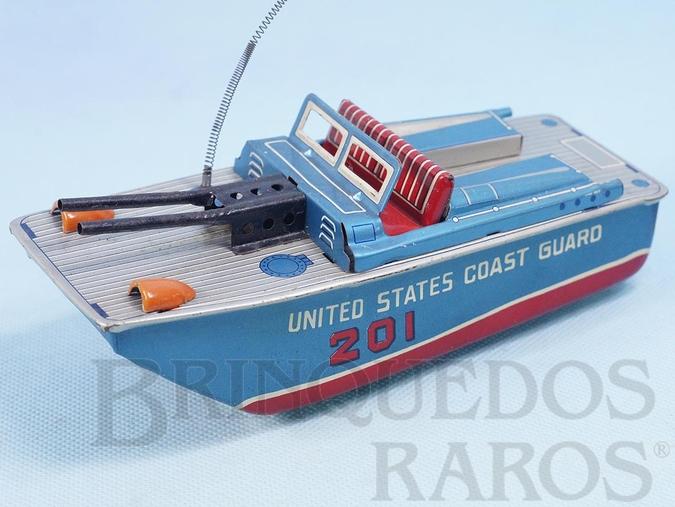 Brinquedo antigo Lancha United States Coast Guard com 19,00 cm de comprimento e Metralhadora com faisca Década de 1960