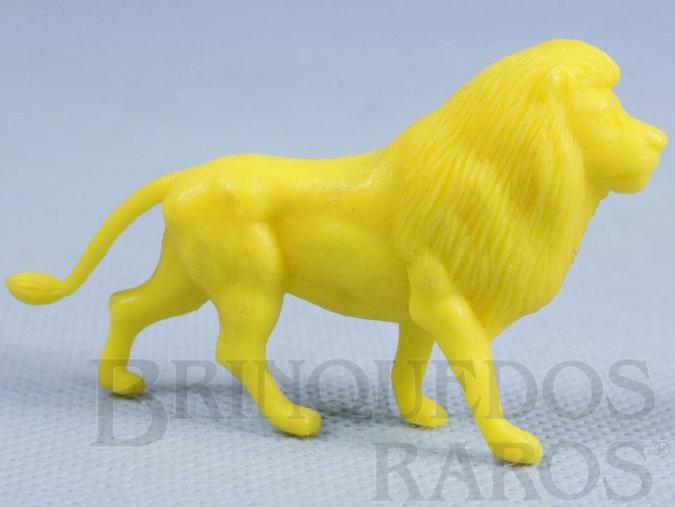 Brinquedo antigo Leão de plástico amarelo Série Zoológico Década de 1970