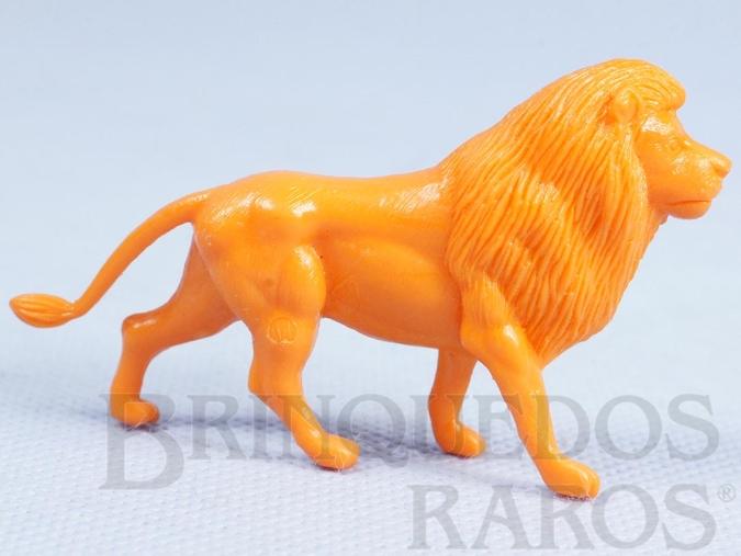Brinquedo antigo Leão de plástico laranja Série Zoológico Década de 1970
