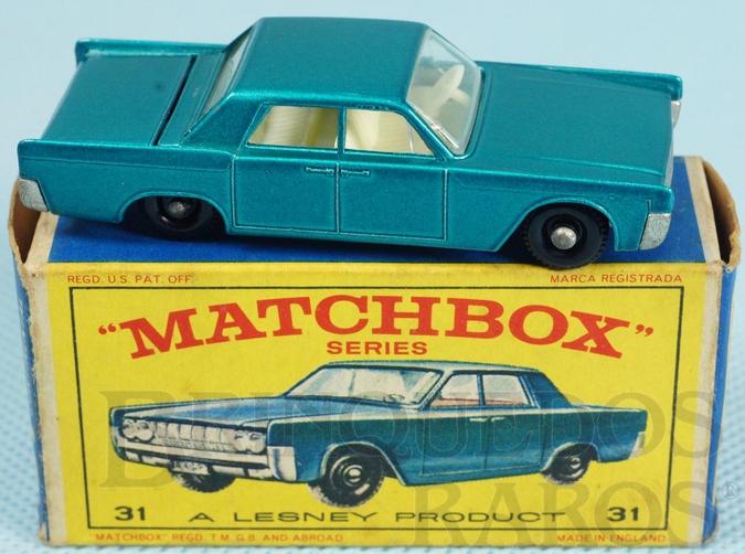 Brinquedo antigo Lincoln Continental azul metálico black plastic Regular Wheels