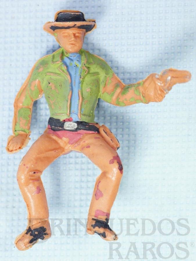 Brinquedo antigo Little Joe Cartwrith montado a cavalo com revolver Série Fazenda Ponderossa