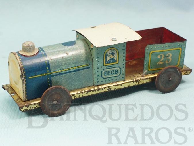 Brinquedo antigo Locomotiva Tender Estrada de Ferro Central do Brasil com 17,00 cm de comprimento Ano 1937