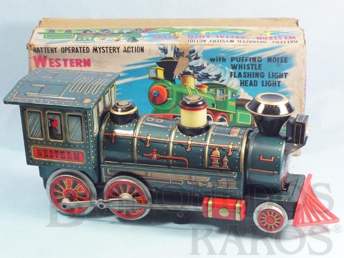 Brinquedo antigo Locomotiva Western Special Locomotive Sistema Bate e Volta acende o farol e a Caldeira se movimenta 37,00 cm de comprimento Ano 1967