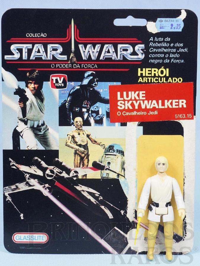 Brinquedo antigo Luke Skywalker O Cavalheiro Jedi Star Wars Lucas Film perfeito estado completo com Sabre de Luz acompanha Cartela original Década de 1980