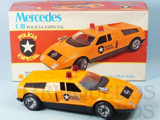 Brinquedo antigo Mercedes Benz C-111 Polícia Especial com 26,00 cm de comprimento Sistema Bate e Volta abre as portas e o capô do motor Década de 1980