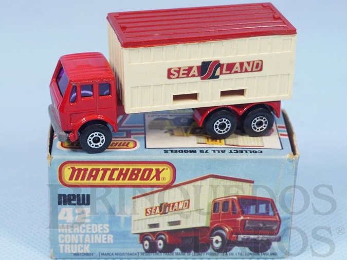 Brinquedo antigo Mercedes Benz Container Truck Superfast Sea Land