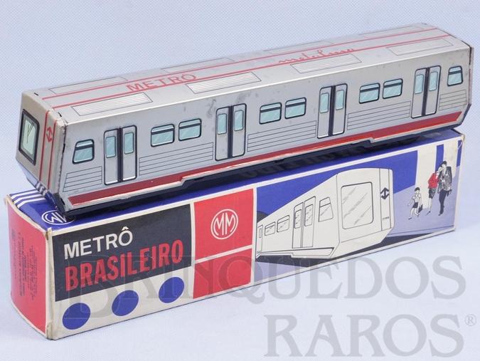 Brinquedo antigo Metrô Brasileiro Metalma 34,00 cm de comprimento Primeiro e único Brinquedo relacionado ao Metrô de São Paulo Década de 1970