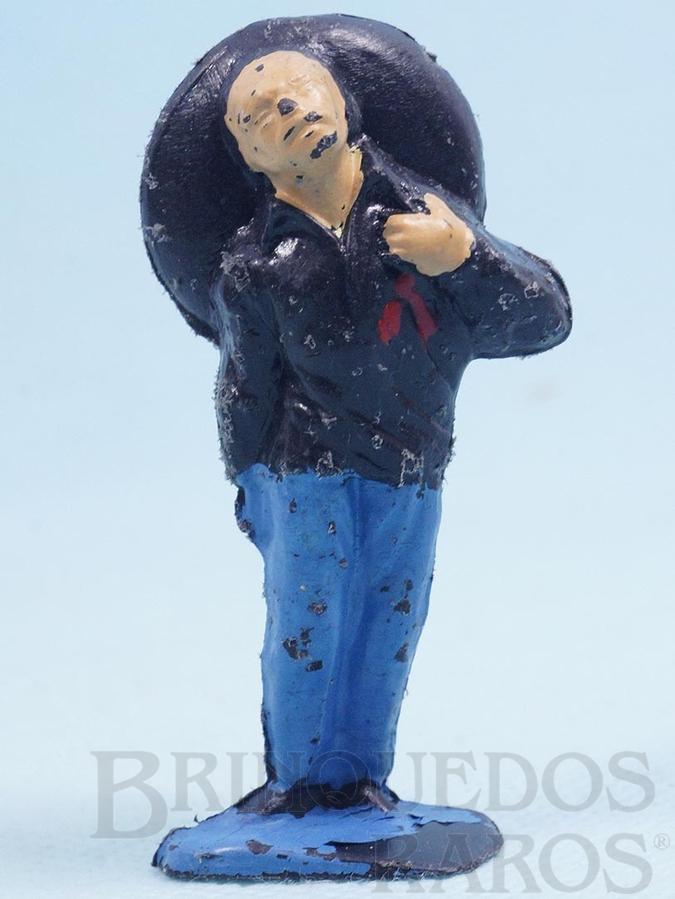 Brinquedo antigo Mexicano ferido Habitante da aldeia Calça azul claro Série O Zorro distribuído pela Trol Década de 1970