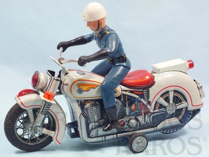 Brinquedo antigo Motocicleta de Policia com Policial 30,00 cm de comprimento Década de 1970