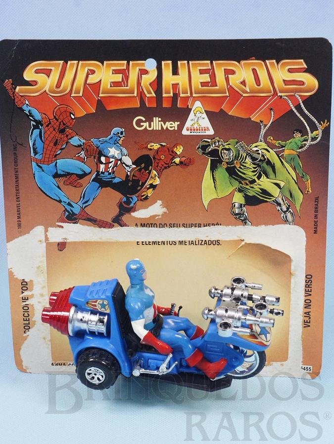 Brinquedo antigo Motocicleta do Capitão América Série Secret Wars perfeito estado Completa com Boneco acompanha Cartela Original Ano 1989
