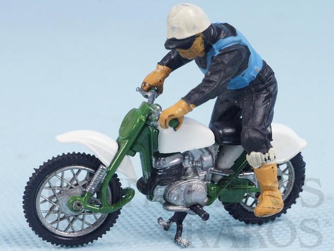Brinquedo antigo Motocicleta Greeves Challenger Scrambler com motociclista Década de 1970