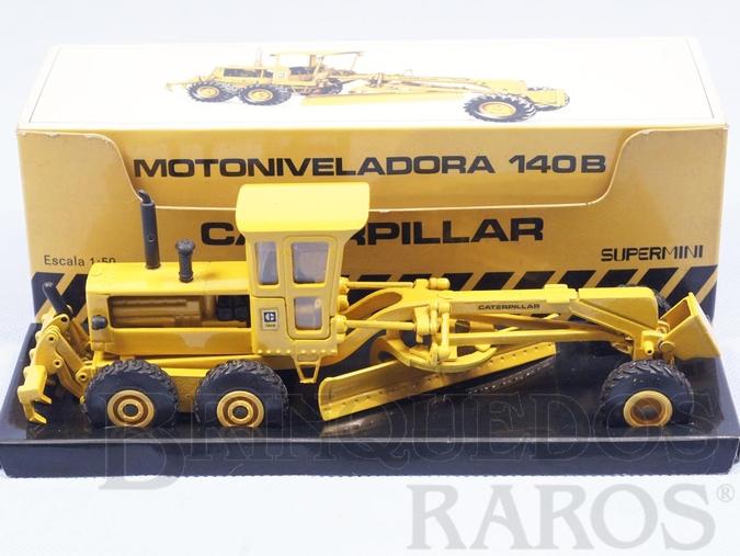 Brinquedo antigo Motoniveladora Caterpillar 140B Perfeito estado completa com capota Década de 1980