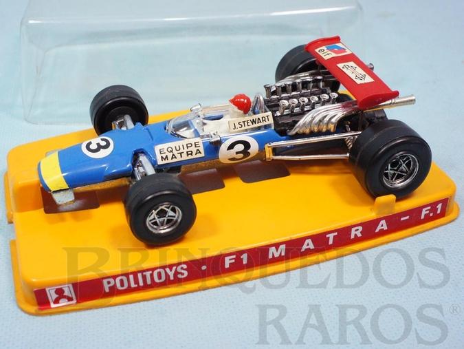 Brinquedo antigo Matra Fórmula 1 piloto Jackie Stewart Politoys Ano 1970