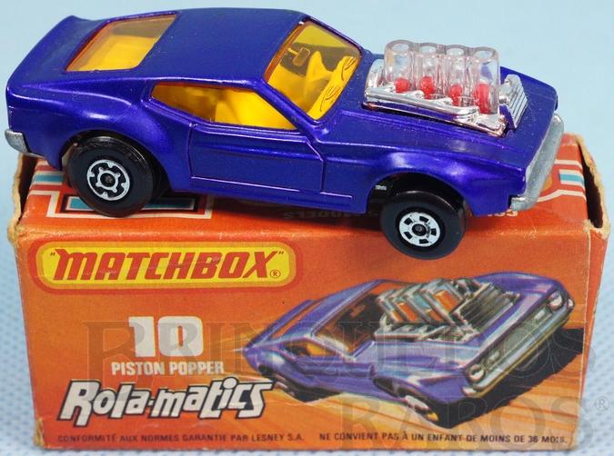 Brinquedo antigo Mustang Piston Popper azul metálico Rola-Matics