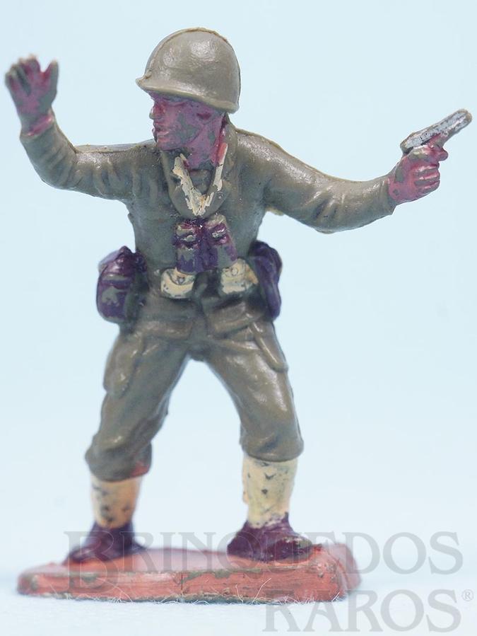 Brinquedo antigo Oficial dando ordens de avançar Uniforme Americano da Segunda Guerra Mundial Década de 1970